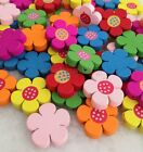 100pcs Mixed Color Shape Flower Wood Sewing Buttons Scrapbooking Con200e-1