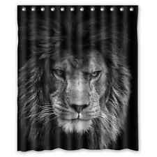 60x72 Inch Custom Lion Waterproof Polyester Fabric Shower Curtain and Hooks