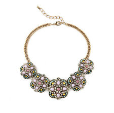 NEW * Urban Anthropologie Grand Sophronian Pink Yellow Teal Gemmed Necklace
