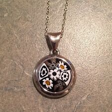 """Alan K Black And White Millefiori Pendant Sterling With 18"""" Chain"""