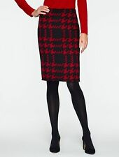 NEW $139 TALBOTS Red,Black Modern Houndstooth Pencil Skirt Sz 18W