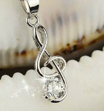 SILVER MUSIC NOTE TREBLE CLEF CZ CRYSTAL PENDANT NECKLACE