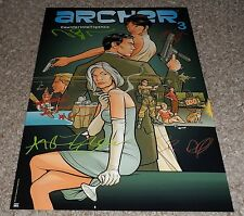 "ARCHER PP CAST X5 SIGNED 12"" X 8"" A4 PHOTO POSTER ISIS H JON BENJAMIN AMBER NASH"