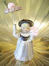 VTG Southern Belle Pink Satin Roses Parasol Umbrella Girl Planter Figurine