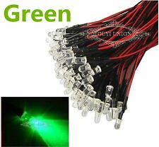 New Green 10PCS Prewired LED 3mm Lamp 12V Bright Light 20cm 25 Degree Pre wired