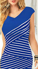 New blue and white striped wiggle evening party day dress size 12