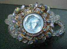 VINTAGE KIRK'S FOLLY AB CRYSTAL BRACELET CHILD'S FACE MEDALLION