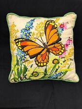 Vintage Embroidered Crewel Handmade Complet Toss Pillow SUNFLOWERS & BUTTERFLY