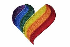 GAY&LESBIAN RAINBOW PRIDE FLAG BIG HEART SHAPE EMBROI. IRON-ON PATCH CREST BADGE