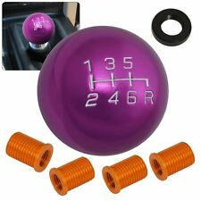 Universal 8X1.25Mm 6-Speed Round Gear Shift Knob Threaded Set Time Attack Purple