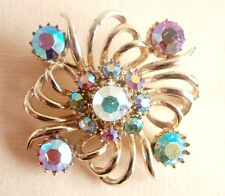 Vintage Pink Blue Aurora Borealis Rhinestone Gold Wedding Party Brooch Gift Bag