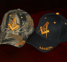 2 Mason Hats Two Masonic Freemasonry Lodge Ball Caps Free Mason Cap M1x2 CAM+BK