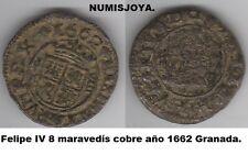 FELIPE IV. Año 1662. 8 Maravedíes Cobre Granada. Con N bajo la granada.