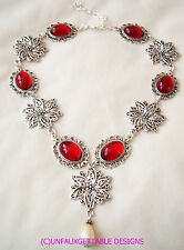 TUDOR MEDIEVAL DEEP RUBY RED SILVER FLOWERS CHOKER LARP RENAISSANCE  NECKLACE