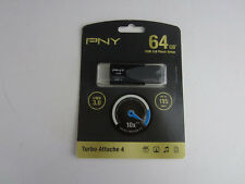 Genuine PNY - Turbo Plus 64GB USB 3.0 Flash Drive - Silver/Black - Brand New!