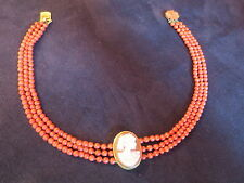 COLLIER CORAIL ROUGE 3 RANGS 36 CM ANCIEN 30.3 G PERLES DE 4 MM DE DIAMETRE