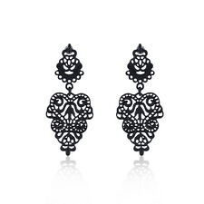 Pair Vintage Black Retro Bohemian Hollow Flower Ear Cuff Hoop Earrings