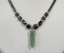 """HEMATITE BEADED GREEN AVENTURINE POINT PENDANT NECKLACE MAGNETIC CLASP 18"""" LONG"""