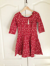 Hollister Skater Dress Sz M Red Floral Ponte Fit & Flare 3/4 Sleeve Round Neck