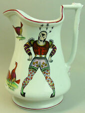 ANTIQUE ELSMORE & FORSTER CLAYPITS POTTERY HARLEQUIN & COCK FIGHTING PUZZLE JUG