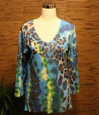 Alberto Makali Tunic Shirt Top XL Pointelle V Neck Embellished Multi Color EUC