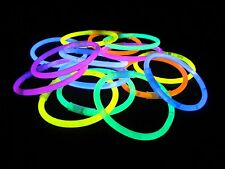 "100pcs 8""Glow Sticks Bracelets Light Neon Colors & 100 Bracelets Connectors uk"