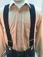 """New, Men's Navy Blue, Large, 2"""", Adj. Twin Pin Clip Suspenders, Made in the USA"""