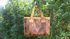 Vintage 60s 70s Patchwork Leather Purse Tote Bag Whipstich Hippie Boho Char