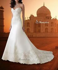Mermaid & Trumpet White/Ivory Lace Satin Wedding Dress Bridal Gown Custom Size