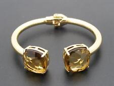 $38 Cara Accessories Cuff Hinged Bracelet Golden Citrine Crystals Goldtone Metal