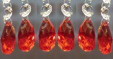 6 cristalli vetro Lampadario gocce vintage perline rosse decorazioni albero di Natale