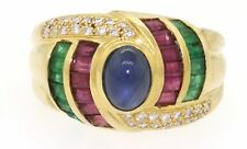 18k gold 2.76ct VS2-G diamond ruby emerald sapphire cocktail ring size 6.75