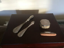 4 LOVELY SOLID SILVER ITEMS. 2 SHOE HORNS, NAIL BUFFER AND BRUSH