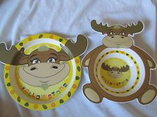 Lot - Baby Dishes Feeding Plate & Bowl Yellowstone National Park Moose CUTE!!
