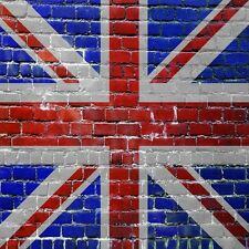 BRITISH FLAG PAINTED ON A BRICK WALL   SET OF 4 COASTERS RUBBER WITH FABRIC TOP