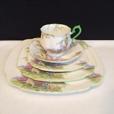 CH3824 3 COMPLETE ROYAL ALBERT GREENWOOD TREE GREEN TRIM 5 PIECE PLACE SETTINGS