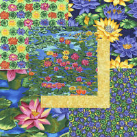 "Water Lilies 30 4"" fabric squares 100% cotton quilting quilt flowers floral"