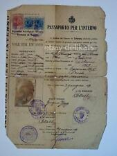 Vecchio PASSAPORTO PER L'INTERNO Trieste 1919