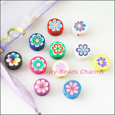 60Pcs Mixed Handmade Polymer Fimo Clay Flower Flat Spacer Beads Charms 8mm