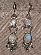 Vintage Bali Genuine Moonstone Gemstone 925 Sterling Silver Drop Dangle Earrings