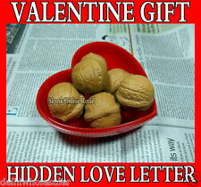 Fake Walnuts Heart for Hidden Secret Naughty Love Messages Letter Valentine Gift