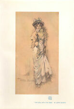 1903 STUDIO PRINT ~ THE GIRL WITH THE ROSE by LEWIS BAUMER