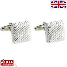 Cool Men's Women's Classic Silver Square Cufflinks Novelty Design Cuff-links