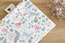 Flower deer 100% Cotton Fabric / All sizes / 110cm width fabric cuts (fft137)