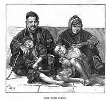 IRAN A Poor Kurd Family - Antique Print 1873