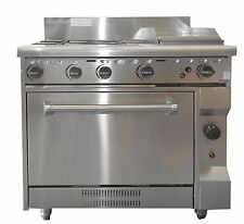COMMERCIAL CATERWARE S/S GAS FOUR BURNER / 300mm HOTPLATE WITH OVEN (LPG OR NATU