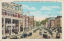GLENS FALLS, NY ~ BUSY DAY ON GLEN STREET ~ TRAFFIC COP & MANY CARS ~ c1930