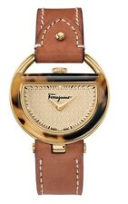 Ferragamo Women's FG5020014 BUCKLE Gold IP Steel DIAMOND Brown Leather Watch