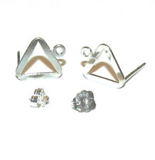 M7106f Flat Triangle w Loop Sterling Silver-Filled Earring Stud & Earnut 2/pkg