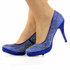 NEW WOMEN PLATFORM HIGH HEELS DIAMANTE WEDDING PARTY PROM SHOES SIZE 3-8